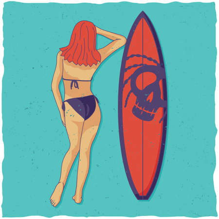 Illustration of girl and surfing board on blue background