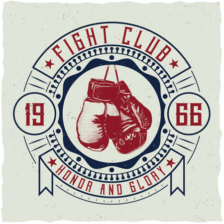 Label design with illustration of boxing gloves for t-shirts, posters, greeting cards etc. Иллюстрация