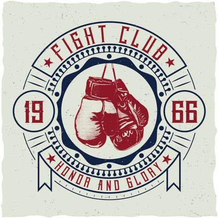 T 셔츠, 포스터, 인사 장 등을위한 권투 장갑의 삽화를 가진 상표 디자인.