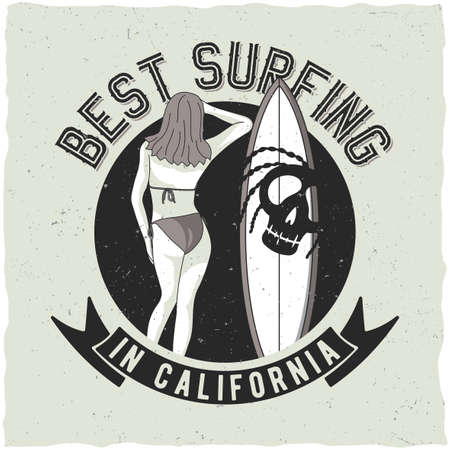 Surfing label design with illustraion of girl and surf board for t-shirts, posters, greeting cards etc. Illustration