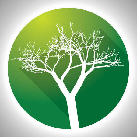 barque: Colorful Tree Icon with image of white plant in green circle vector illustration