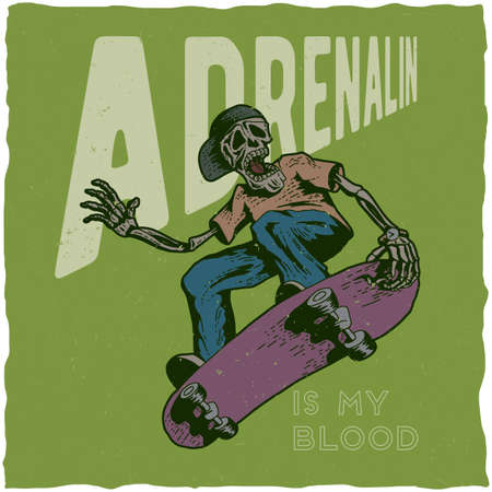 Skateboard t-shirt label design with illustration of skeleton playing skateboard. Hand drawn illustration. Reklamní fotografie - 79991641