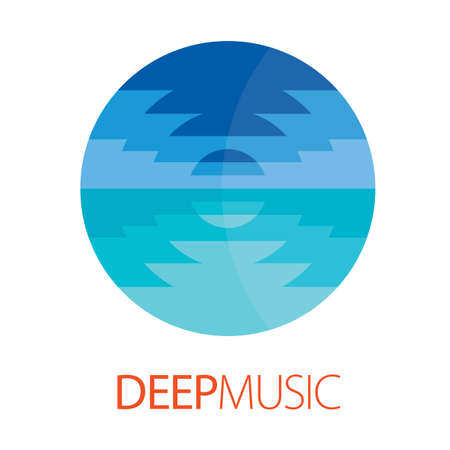 color mixing: Deep Music Logo Poster with image of web sea waves for design vector illustration