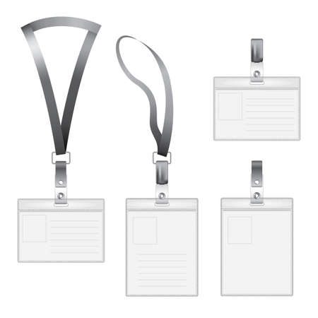 straps: Modern Flat Icons Set with four id holder of different sizes vector illustration Illustration