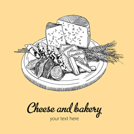 Cheese And Bakery Poster with image of food and words your text here vector illustration Illustration