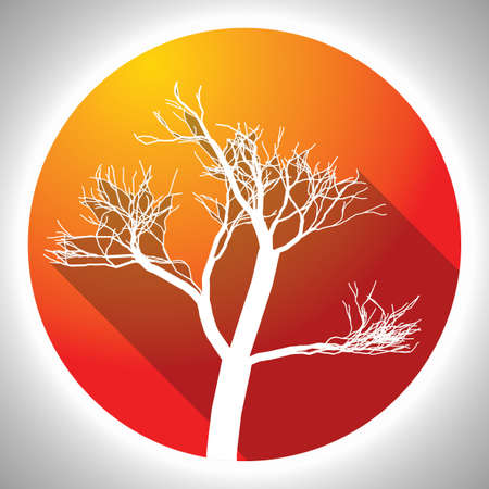 Colorful Tree Icon with image of white plant in orange circle vector illustration
