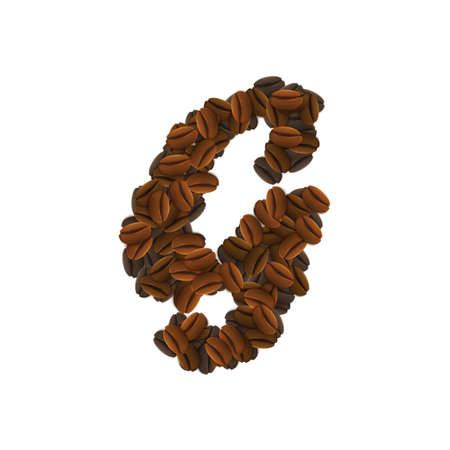 Design Icon Object with letter G made of coffee beans isolated vector illustration Illustration