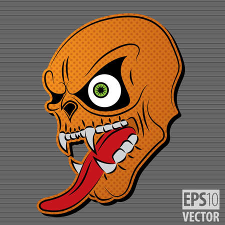 Halloween Motive Icon with Orange Scary Skull on grey background isolated vector illustration Illustration