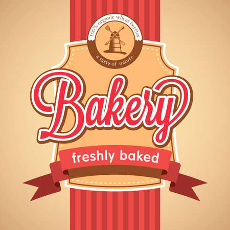 Bakery Stylish Poster with cartoon of mill on rose background vector illustration