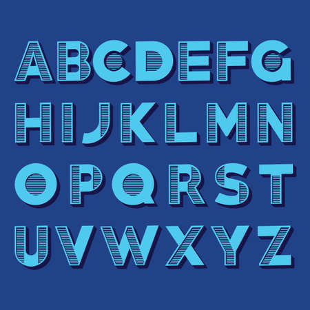 glitch: Creative Alphabet Set made of different color ribbons on the blue background vector illustration