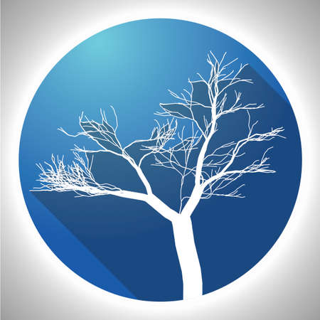 barque: Colorful Tree Icon with image of white plant in blue circle vector illustration