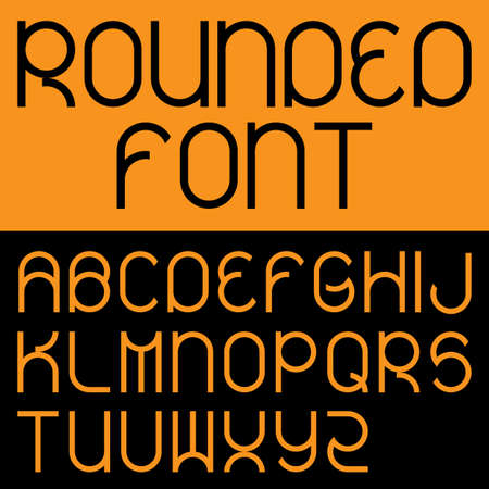 rounding: Rounded Font Poster with alphabet on different colored backgrounds vector illustration