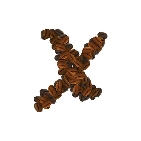 Design Icon Object with letter X made of coffee beans isolated vector illustration