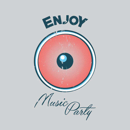 Music Party Poster with big eye and word enjoy on grey background vector illustration