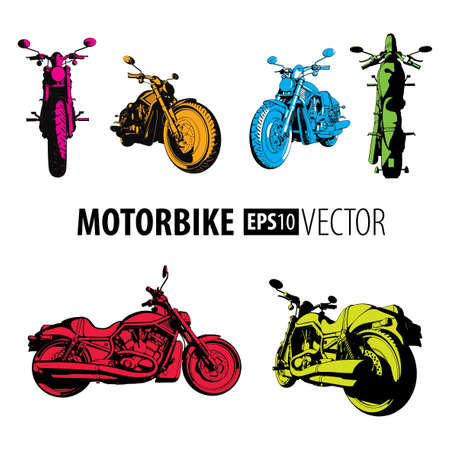 Motorbike Colorful Set Collection with six different bikes on white background vector illustration Illustration