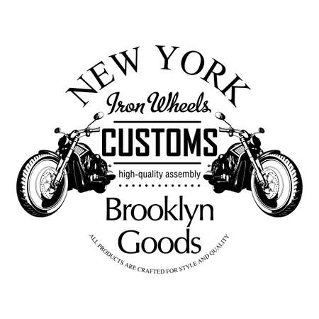old new york: Motorcycle Creative Poster with bike and words iron wheels on white background vector illustration