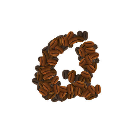 Letter Design Icon Object with Q made of coffee beans isolated vector illustration Illustration