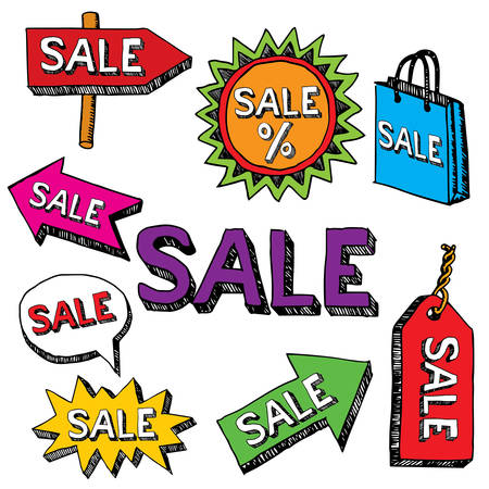 Creative Realistic Poster with different arrows and word sale vector illustration Ilustração