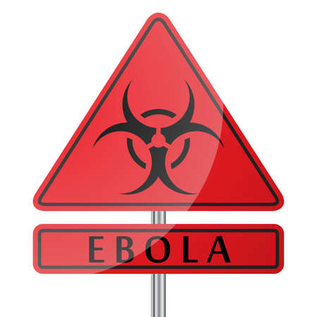 Ebola Danger Poster with Sign of disease on white background vector illustration