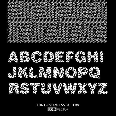 grid: Stylish Monochrome Font Poster with alphabet and pattern elements on black background vector illustration