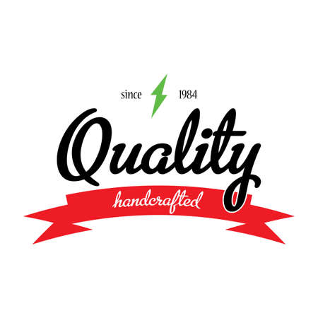 quality guarantee: Quality Handcrafted Emblem Poster with original design on effective background vector illustration