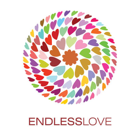 Colorful Hearts Logo Poster with words endless love for advertising design vector illustration
