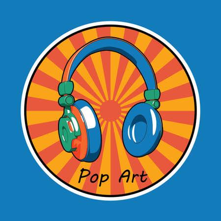 Cartaz de Design criativo de música com imagem de fones de ouvido pop art na ilustração vetorial de círculo