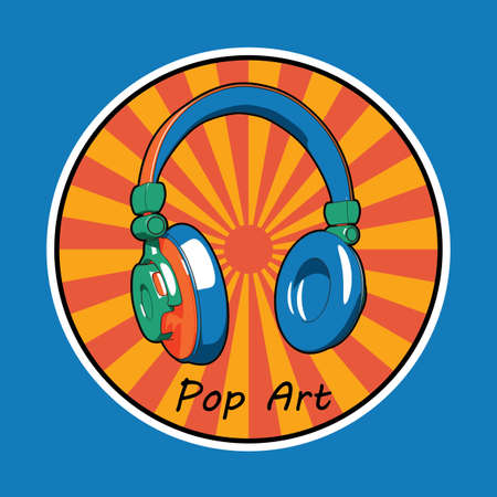 Music Creative Design Poster with pop art headphones image in the circle vector illustration