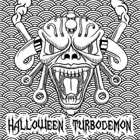 dark skin: Monochrome Halloween Turbodemon Poster with angry skull in the centre vector illustration