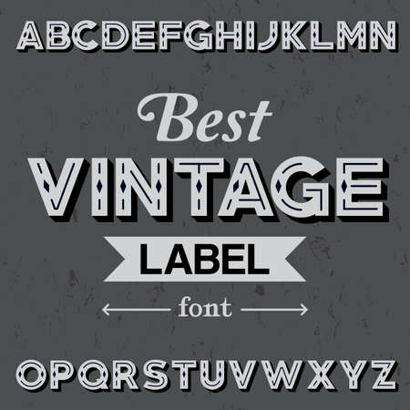 typescript: Best Vintage Label Font Poster with alphabet on the grey background vector illustration