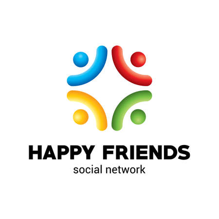 Happy Friends Poster with information about social network with colorful elements vector illustration