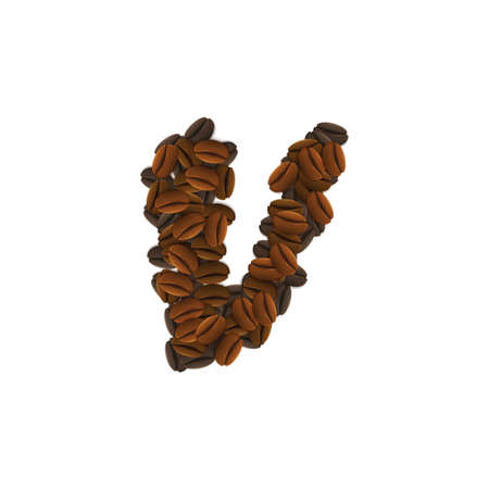 Design Icon Object with letter V made of coffee beans isolated vector illustration