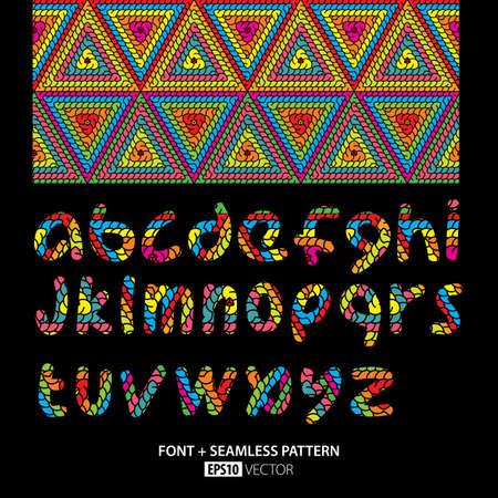 Stylish Font Poster with alphabet on black and pattern elements background vector illustration Illustration
