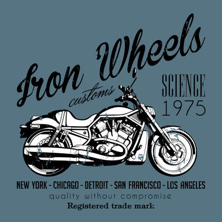 detroit: Motorcycle Creative Poster with bike and words iron wheels on grey background vector illustration