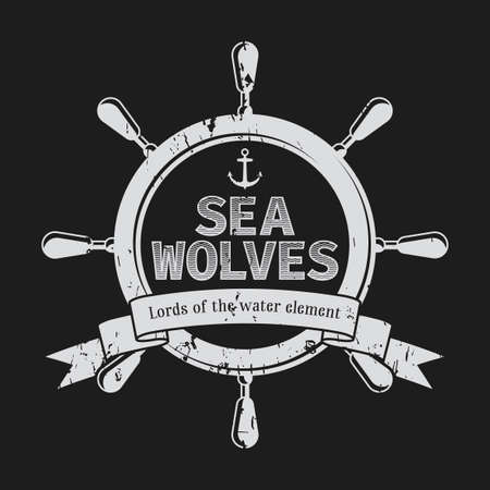 navy blue background: Water Element Poster with words sea wolves and helm in the centre vector illustration Illustration