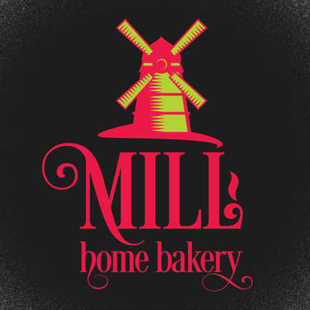 Bakery Stylish Poster with cartoon of mill on black background vector illustration