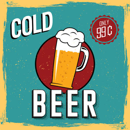 99: Colorful Cold Beer Poster with one big glass and price only 99 cents vector illustration