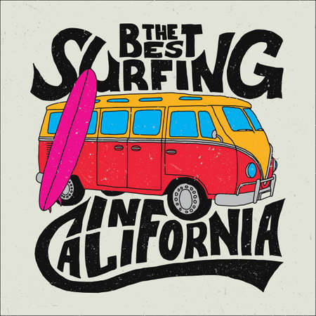 California best surfer poster. Illustration