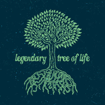 Colorful nature poster with information that tree is legendary one of life. Illustration