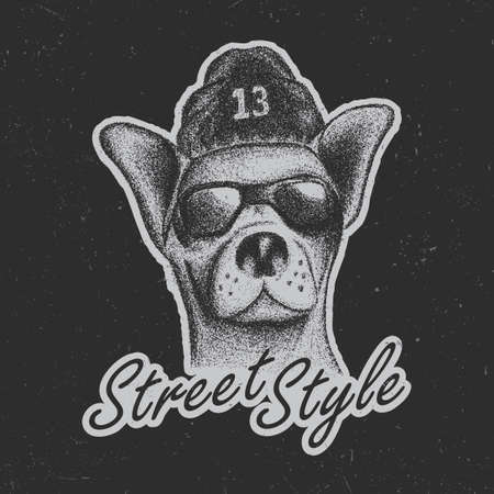 Chihuahua street style poster with a dog in glasses and hat.