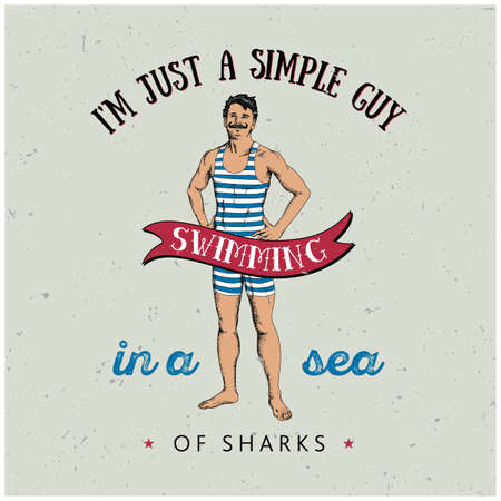 Sportive man poster with text about simple guy swimming in sea of sharks.