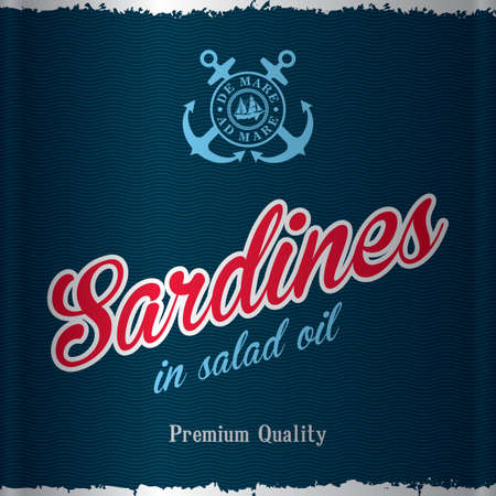 Stylish sea food poster with words sardines in salad oil of premium quality. Illustration