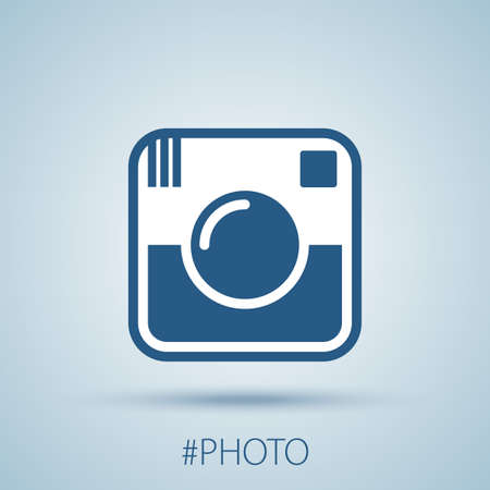 Creative Design Object Icon with image of camera and word photo isolated vector illustration