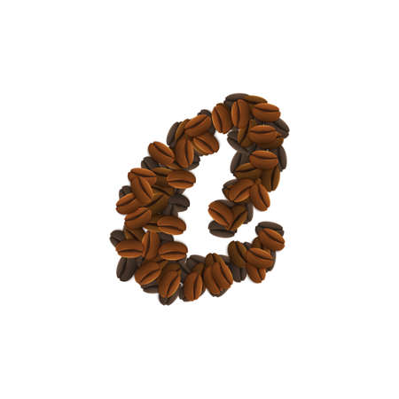 Letter Design Icon Object with C made of coffee beans isolated vector illustration