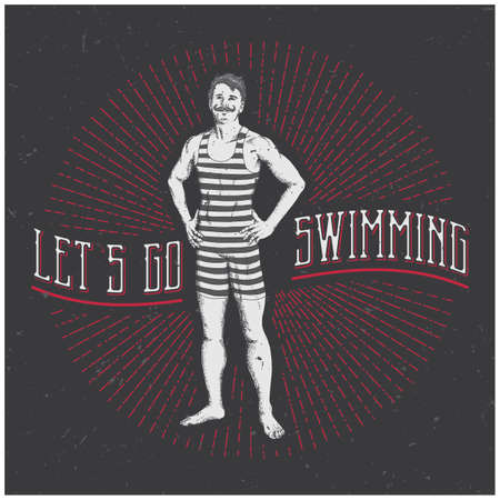 Vintage Swimming Man Poster with funny slogan Let's go swimming vector illustration