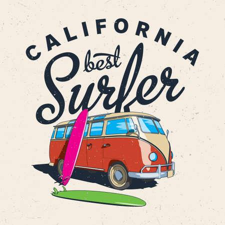 Mejor cartel de surfista de California con el autobús y el tablero en la ilustración vectorial de fondo eficaz Ilustración de vector