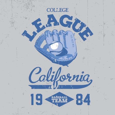 California College League Poster with a little ball on the blue background vector illustration