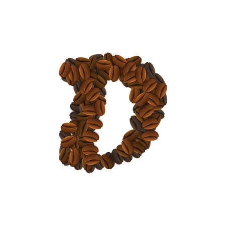 Letter Design Icon Object with D made of coffee beans isolated vector illustration