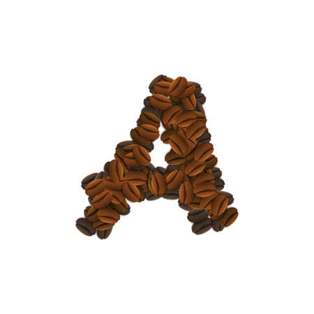 Letter Design Icon Object with A made of coffee beans isolated vector illustration