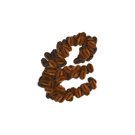 Design Icon Object with letter E made of coffee beans isolated vector illustration Illustration